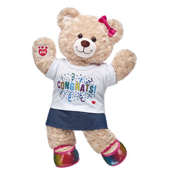 YAY! No matter what you're looking to celeBEARate, this cuddly gift set is an exciting choice! Happy Hugs is jumping for joy in its colorful outfit that includes a sparkly skirt and rainbow flats. Add bear hugs to any occasion with this fun gift set! <p>Price includes:</p>  <ul>    <li>Happy Hugs Teddy</li>     <li>Congrats T-Shirt</li>    <li>Sparkly Denim Skirt</li>    <li>Rainbow Sparkle Flats</li>    <li>Rainbow Bows 6 pc.</li> </ul>