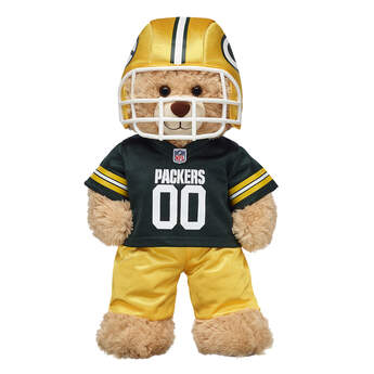 Get ready for game day with this Green Bay Packers fan set! This three-piece uniform comes complete with a jersey, pants and soft helmet. ® 2018 NFL LLC.