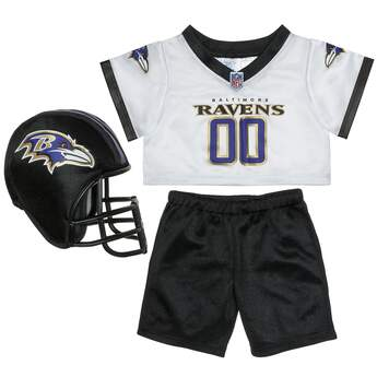 Get ready for game day with this Baltimore Ravens fan set! This three-piece uniform comes complete with a jersey, pants and soft helmet. ® 2018 NFL.