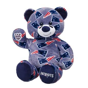 Go Patriots! Cheer on the New England Patriots with your very own New England Patriots Bear. This exclusive furry friend has grey fur with the team logo printed all over and PATRIOTS written on its navy paw. Add a football uniform to make the perfect gift for any sports fan!  2017 NFL Enterprises LLC. Team names/logos are trademarks of the teams indicated.
