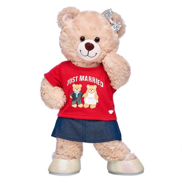 Online Exclusive Happy Hugs Teddy Just Married Bride Gift Set, , hi-res