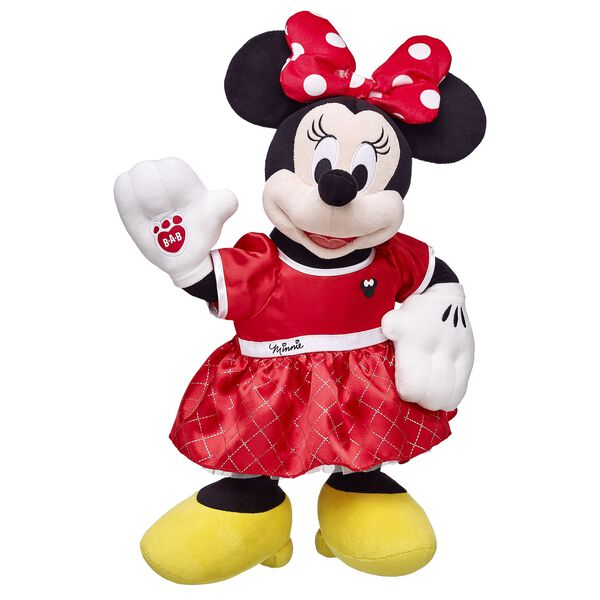 This Disney Minnie Mouse Gift set contains Disney Minnie Mouse furry friend and Minnie Mouse Red dress. Minnie features her polka dot hair bow, white gloves and yellow shoes.