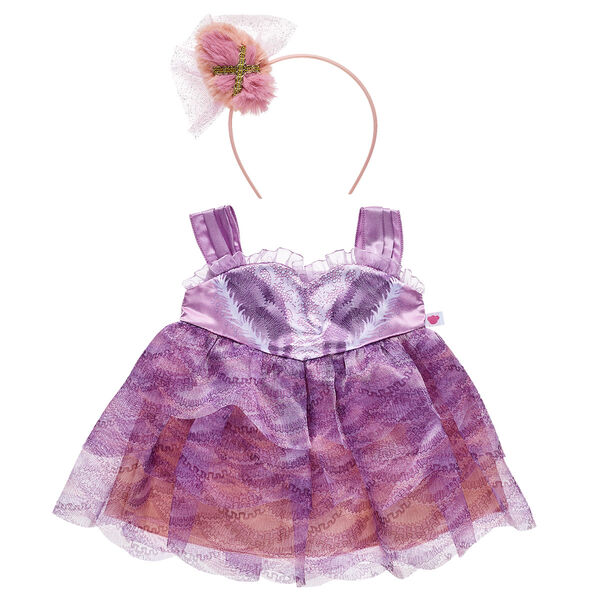 "Visions of sugar plums will dance in your head as you twirl your furry friend in this adorable two-piece costume! This Sugar Plum Fairy costume includes a pink and purple dress with a matching tulle headband. It's a cute way for little ballerinas to relive the joy and whimsy of Disney's ""The Nutcracker and the Four Realms""!"