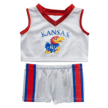 Officially licensed teddy bear size University of Kansas uniform includes jersey and pants. Rock Chalk!