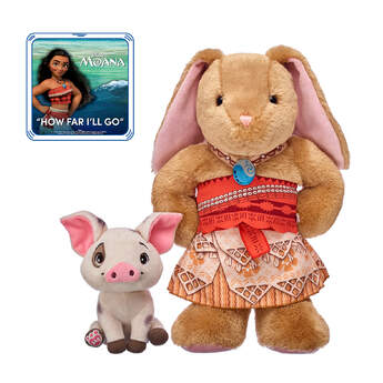 Go on an unforgettable voyage with this Disney Moana stuffed animal gift set! Pawlette is a fearless bunny who is dressed in her three-piece Moana costume - all set for her own ocean adventure! Plus, the loyal pet pig Pua is a pre-stuffed friend who is coming along for the ride! Give this cute Moana gift set as a special surprise for the movie fan in your life.