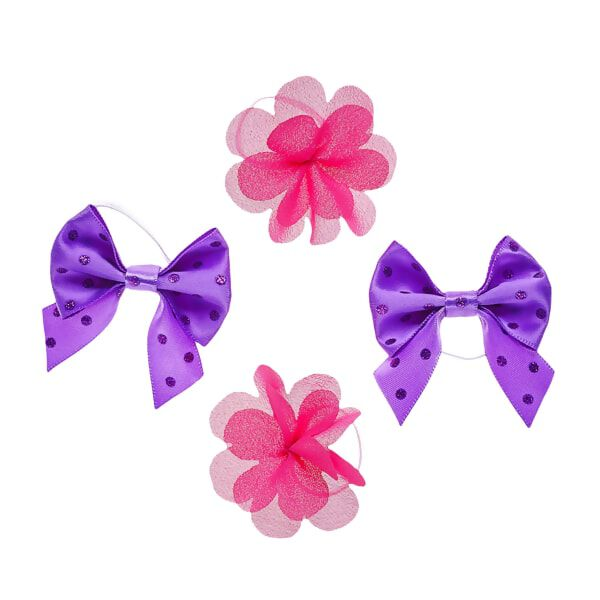Purple and Pink Hair Bow Set 4 pc., , hi-res