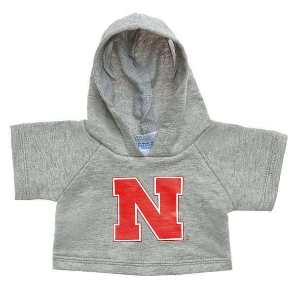 Officially licensed University of Nebraska-Lincoln Hoodie. This teddy bear size gray hoodie has a Nebraska graphic on the front. It's the perfect size for a new furry friend. Go Huskers!© 2015 University of Nebraska-Lincoln