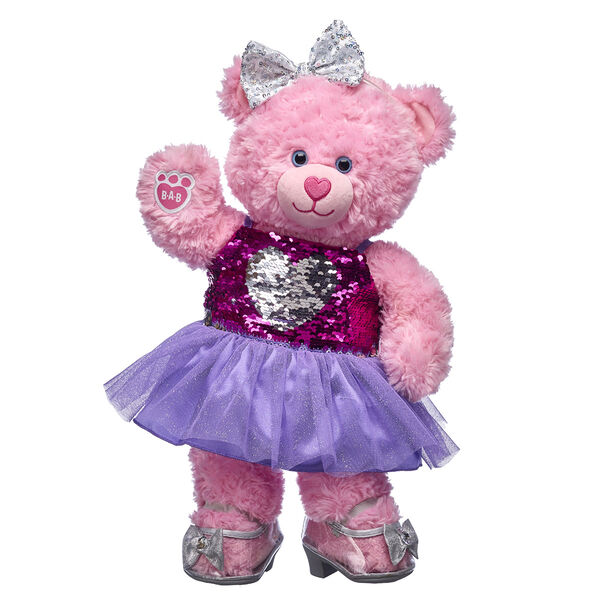 pink teddy bear gift set with sparkle dress and shoes