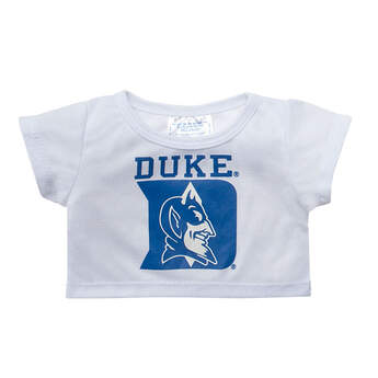 Officially licensed Duke University t-shirt.  This teddy bear size white tee has a Duke® graphic on the front. It's the perfect size for a new furry friend. Go Blue Devils!
