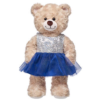 This sparkly blue stuffed animal dress has silver sequins on the sleeveless top. Personalize a furry friend to make the perfect gift. Free shipping on orders over $45. Shop online or visit a store near you!