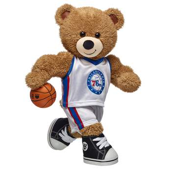 Slam dunk! This authentic Philadelphia 76ers NBA uniform includes a jersey and shorts and is the perfect size for your furry friend! Slam dunk! With long legs and big arm muscles, Basketball Bear is ready to hit the court! The newest addition to the Build-A-Bear Workshop Sports Central lineup, this Basketball Teddy Bear has light brown fur and special ear and paw pads featuring a basketball texture. Outfit Basketball Bear in your favorite team's uniform to make sure your furry friend is ready for game day.