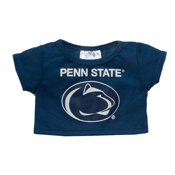 Officially licensed Pennsylvania State University t-shirt.  This teddy bear size navy tee has a Penn State graphic on the front. It's the perfect size for a new furry friend. Go Lions!