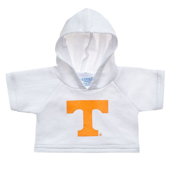 Officially licensed University of Tennessee Hoodie. This teddy bear size white hoodie has a Tennessee graphic on the front. It's the perfect size for a new furry friend. Go Vols! © 2015 University of Tennessee