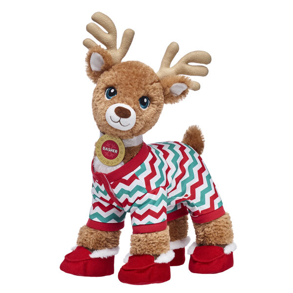 Nicknamed The Athletic Dreamer, Dasher spreads holiday cheer in snuggly style thanks to this cuddly stuffed animal gift set! In addition to his personalized medallion, Dasher's colorful sleeper provides a festive look. His red slippers will also ensure that his hooves are warm this winter!