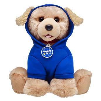 "Does your Promise Pet have a mischievous side? Enjoy a good laugh while you continue to train them with this cute blue stuffed animal hoodie for Promise Pets! This hoodie is specially designed for Promise Pets and features a playful ""Blame it on the Treats!"" graphic in yellow on the back."