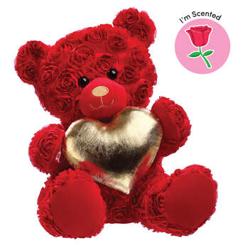 Red Roses Bear with Gold Heart Scented Gift Set, , hi-res