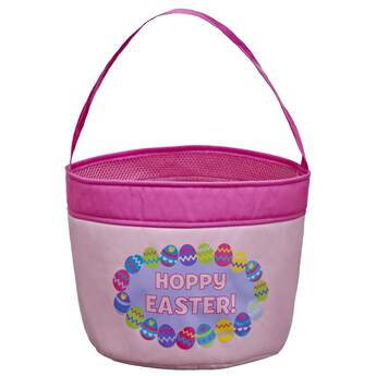 Find eggs in style with this full-sized Easter basket that matches the mini basket for your furry friend! This pink egg basket comes with a fun multicolor egg design.Personalize your basket by embroidering a name (up to 10 characters) for $10! Embroidered items require 2 additional business days for processing time.