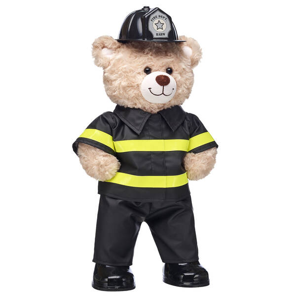 Sound the alarm! This cuddly firefighter gift set is a smokin' fun gift idea. Thank the hero firefighter in your life with this one-of-a-kind teddy bear gift set. <p>Price includes:</p>  <ul>    <li>Happy Hugs Teddy</li>     <li>Firefighter Costume 3 pc.</li>    <li>Black Rubber Boots</li> </ul>