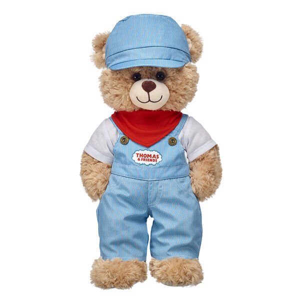 teddy bear wearing train conductor outfit