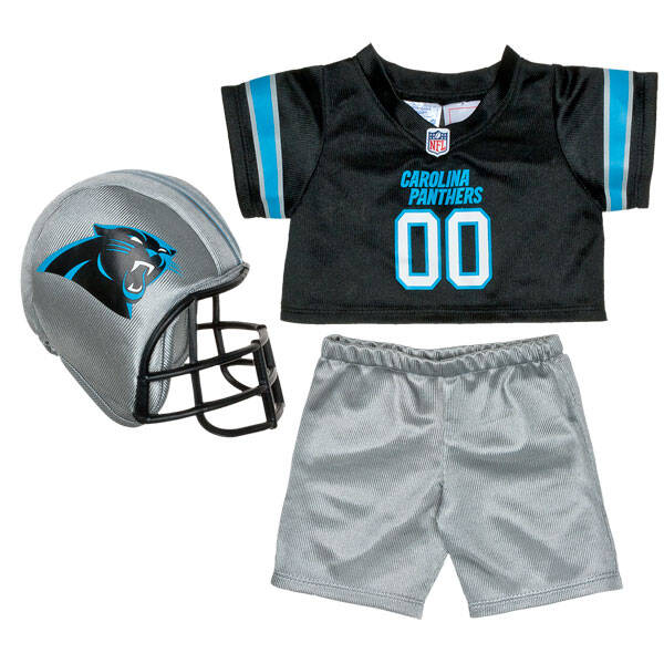 Teddy bear size Carolina Panthers NFL Fan Set complete with jersey, pants and soft helmet makes the perfect gift for Panthers fans!© 2014 NFL Enterprises LLC. Team names/logos are trademarks of the teams indicated.