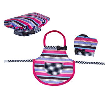 Your furry friend can bake up fun with a Baking Apron, Hat & Mitt set. All pieces feature colorful stripes with a fun pattern. Buy a matching kid-size set.
