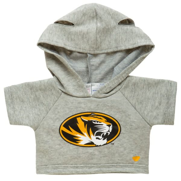 Officially licensed University of Missouri Hoodie. This teddy bear size gray hoodie has a Mizzou logo on the front. It's perfect for alumni or any fan of Missouri. Go Tigers!© 2016 University of Missouri
