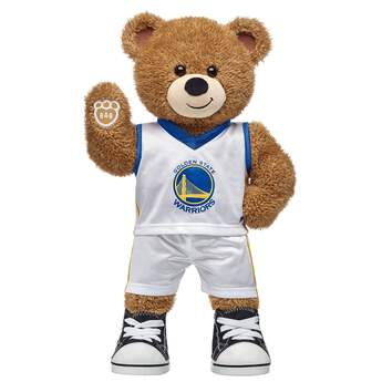 Go Warriors! If you're looking for a personalized gift for the Warriors fan in your life, this teddy bear gift set is nothin' but net! Basketball Bear is ready to hit the court in its two-piece Golden State uniform. NBA and NBA team identifications are the intellectual property of NBA Properties, Inc. and the respective NBA member teams. ©2018 NBA <p>Price includes:</p>  <ul>    <li>Basketball Bear</li>    <li>Golden State Warriors Uniform 2 pc.</li>    <li>Black Canvas High-Tops</li> </ul>