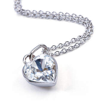 Online Exclusive Swarovski® Heart Stone Pendant Silver Necklace - Build-A-Bear Workshop®