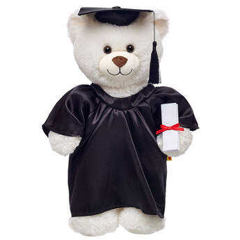 Give a personalized graduation gift when you outfit any furry friend in this black stuffed animal graduation outfit set. The four-piece graduation outfit set includes a black satin gown, hat, plush diploma and tassel. Say congratulations with a beary special graduation gift! Personalize this stuffed animal graduation outfit set with embroidery for only $10! Embroidered items require 2 additional business days for processing time.