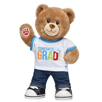 """A BEARY special ""Congrats!"" to the Class of 2018! Whether your graduate just finished kindergarten or needs a cuddly college care package, this cute set makes for an A+ grad gift idea! <p>Price includes:</p>  <ul>    <li>Lil' Brownie Cub</li>     <li>Congrats Grad T-Shirt</li>    <li>Denim Jeans</li>    <li>Black Canvas High-Tops</li> </ul>"""