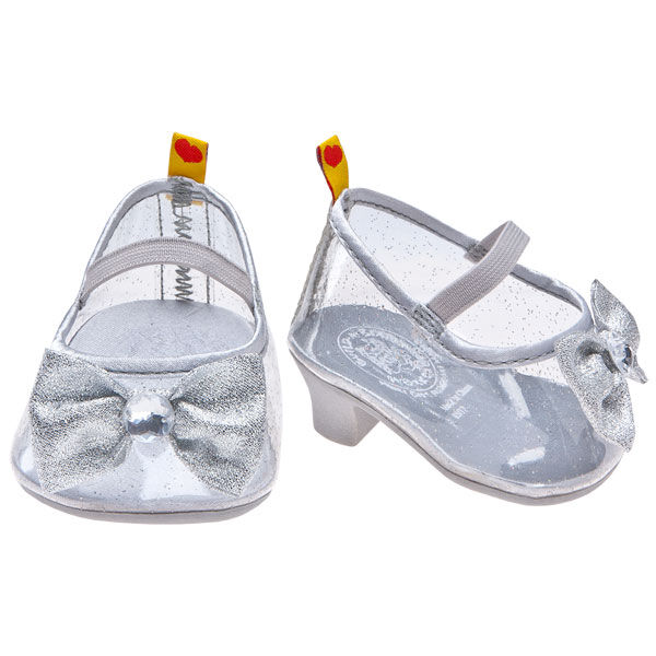 Teddy bear size high heels have a silver-colored sparkle and cute bow with gem.