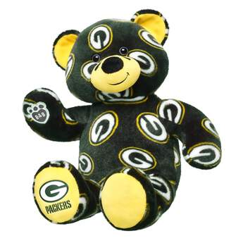 Cheer on the Packers with your very own Green Bay Packers Bear. This bear has green fur with Packers logos all over & Packers written on its yellow paw.