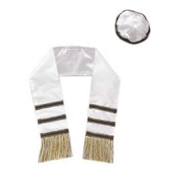 White tallith features three black stripes and gold fringe. White yarmulke has black trim.