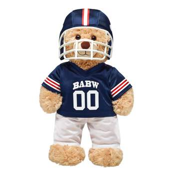 Hut! Hut! Hike! Get ready for game day with this touchdown of an outfit for your furry friend! This navy and white teddy bear sized football uniform comes with a helmet, pants and jersey. This stuffed animal football uniform makes the perfect gift for any sports fan!