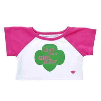 Lead like a Girl ScoutTM! Dress for adventure with this white and pink raglan tee and take the lead with your furry friend by your side! TM & © Girl Scouts of the USA