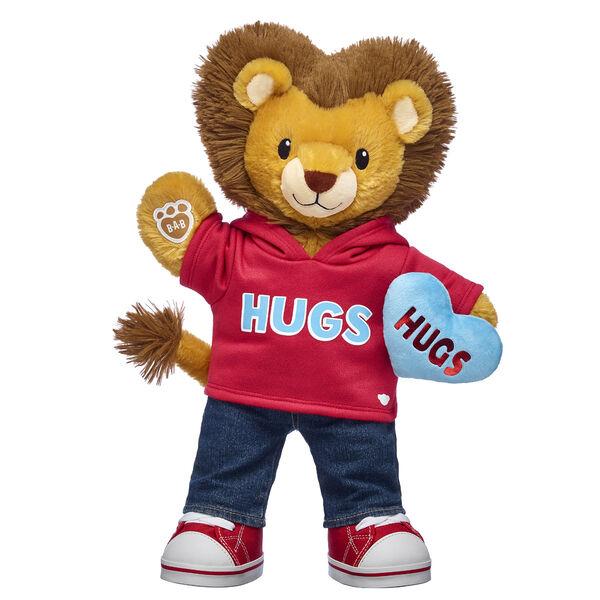 lion stuffed animal gift set with heart plush and hug t-shirt