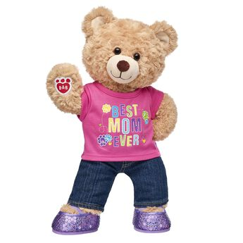 Mom is BEARY special…so surprise her with a gift set that's as one-of-a-kind as she is! Happy Hugs Teddy comes dressed in a cute outfit and is a perfect way to celeBEARate Mom and all she does. <p>Price includes:</p>  <ul>    <li>Happy Hugs Teddy</li>     <li>Best Mom Ever T-Shirt</li>    <li>Denim Jeans</li>    <li>Purple Sequin Flats</li> </ul>