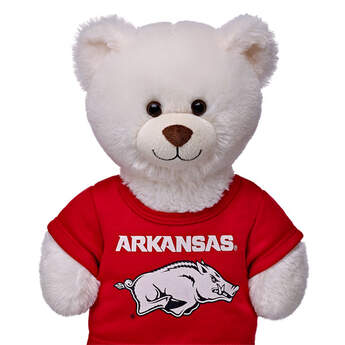 Officially licensed University of Arkansas t-shirt.  This teddy bear size red tee has an Arkansas® graphic on the front. It's the perfect size for a new furry friend. Go Razorbacks!