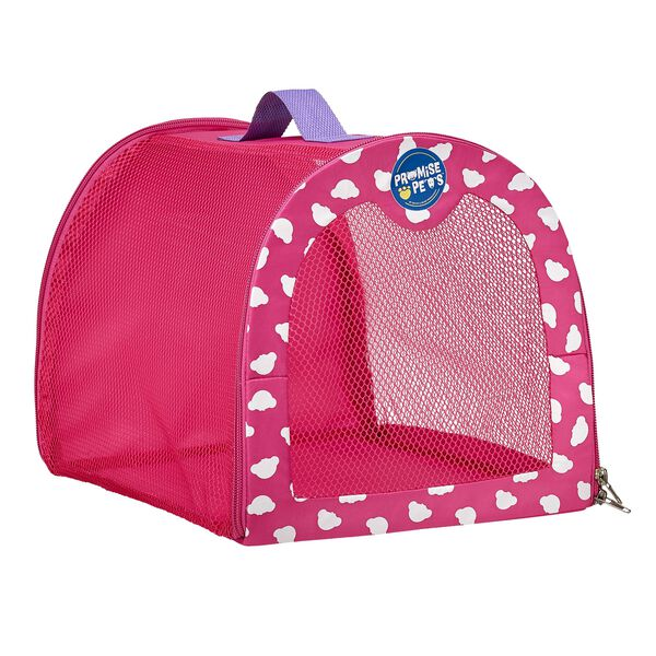 Take your favorite Promise Pet with you wherever you go with this handy pet carrier! This pink stuffed animal carrier can hold one four legged friend. Complete the perfect gift by adding this carrier to any Promise Pet!
