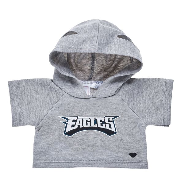 Go Eagles! Your furry friend will be ready for game day in this teddy bear sized hoodie. This grey hoodie features the Philadelphia Eagles logo and makes a perfect gift for sports fans!