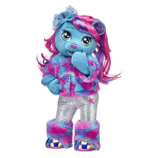 Viv always dances to her own beat! The drummer for the Honey Girls is a bright blue bear with awesome hair and a rockin' faux fur look to boot. This Honey Girls stuffed animal set makes a gift worthy of a standing ovation!