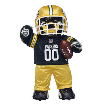 Go Packers! This teddy bear gift set makes a touchdown of a gift for football fans. It includes a Green Bay Packers Bear, a three-piece Green Bay Packers fan set, a plush football and turf shoes! 2018 NFL Enterprises LLC. Team names/logos are trademarks of the teams indicated.
