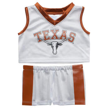 Cheer on the Longhorns with a custom stuffed animal outfitted in this University of Texas Basketball Uniform. The officially licensed teddy bear size University of Texas uniform includes jersey and pants. Create a memorable gift for a  University of Texas fan or alum  today!