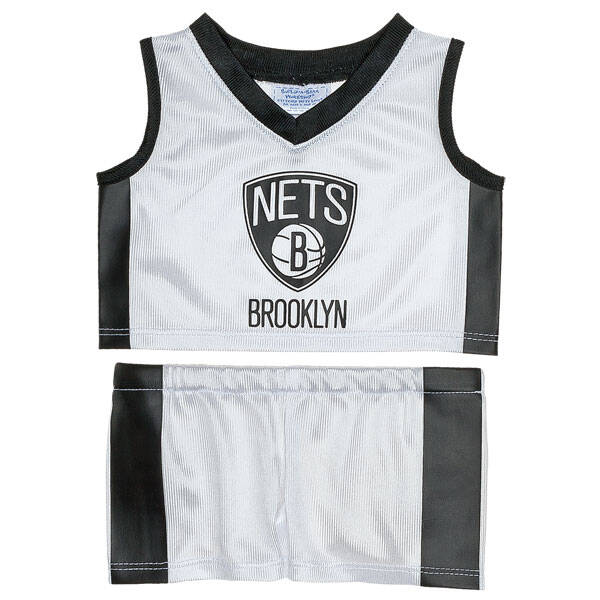This authentic teddy bear size Brooklyn Nets NBA uniform includes a jersey and shorts.NBA and NBA team identifications are the intellectual property of NBA Properties, Inc. and the respective NBA member teams. © 2014 NBA Properties, Inc. All Rights Reserved.