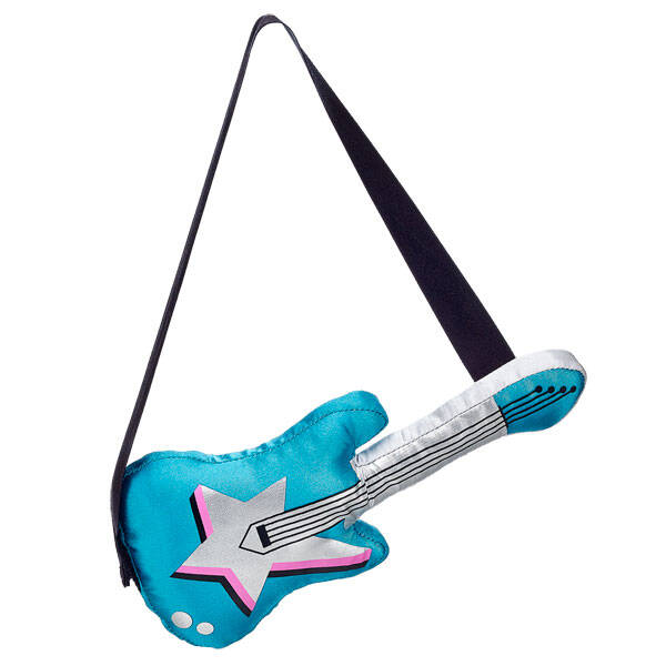 Complete Risa from the Honey Girls look with her guitar! This plush guitar is silver and turquoise. It even plays music! Rock out with Risa and the Honey Girls!