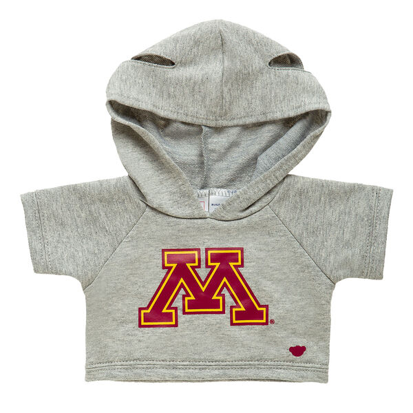 Officially licensed University of Minnesota Hoodie. This teddy bear size gray hoodie has the U of M logo on the front. It's perfect for alumni or any fan of Minnesota. Go Gophers!© 2016 University of Minnesota