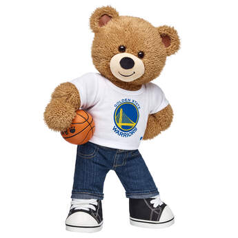 The Golden State Warriors Fan Set contains Basketball Bear, Golden State Warriors T-Shirt, Denim Jeans, Black Canvas High-Tops and BABW® Basketball. this Basketball Teddy Bear has light brown fur and special ear and paw pads featuring a basketball texture. Gear up your furry friend with this authentic Golden State Warriors T-shirt.