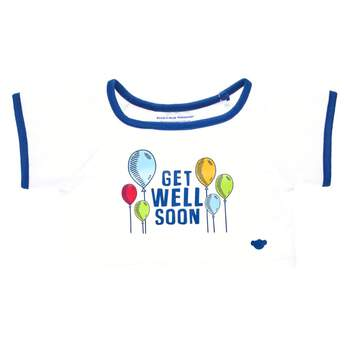 "When someone you love is in need of some big bear hugs, this sweet T-shirt is the perfect choice. This white and blue tee features a ""Get Well Soon"" message surrounded by colorful balloons. Send good thoughts someone's way by outfitting any furry friend in this cute T-shirt to make the perfect gift!"