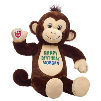 This giggly monkey with a customized tummy is perfect for anyone you're bananas for. Go wild and personalize with up to 3 lines of embroidery! Embroidered items require 2 additional business days for processing time.