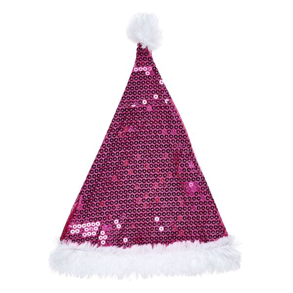Ho ho ho! Join the fun this holiday season with this festive stuffed animal Santa hat. With fuchsia sequins all over it, this cool hat makes for a memorable look!